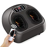 Arealer Foot Massager Machine with Heat, Shiatsu Foot Massagers with Remote Control & LCD Display, 5 Mode with Air Compression, Kneading Foot Massage for Blood Circulation & Plantar Fasciitis