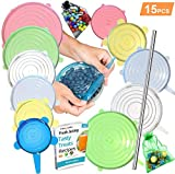 FabQuality 15PCS - Silicone Stretch Lids 12pcs, Metal Drinking Straw + 2 Gift bags, Various Sizes and Shape of Containers, Reusable, Durable and Expandable Food Covers, Keeping Food Fresh, Dishwasher