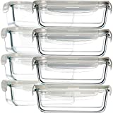 8 Pack Glass Food Storage Containers, Bayco Glass Meal Prep Containers, Airtight Glass Storage Containers with Lids - BPA-Free & FDA Approved & Leak Proof (8 lids & 8 Containers) 30oz