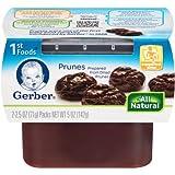 Gerber 1st Foods Prunes, 2.5 oz Tubs, 2 Count (Pack of 8)