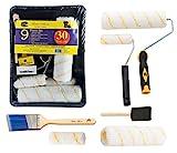 Bates Paint Roller - Paint Brush, Paint Tray, Roller Paint Brush, 9 Piece Home Painting Supplies, Foam Brush, House Painting Tray, Painting tools, Roller and Paint Brushes, Interior Paint Brushes